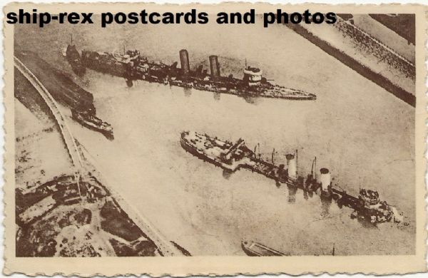 Zeebrugge (Belgium) postcard (d) wrecks from the Raid